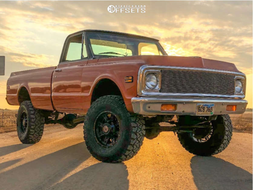 """1971 Chevrolet K20 Pickup Aggressive > 1"""" outside fender on 17x9 0 offset Anthem Off-Road Instigator and 35""""x12.5"""" Goodyear Fierce Attitude on Suspension Lift 4"""" - Custom Offsets Gallery"""