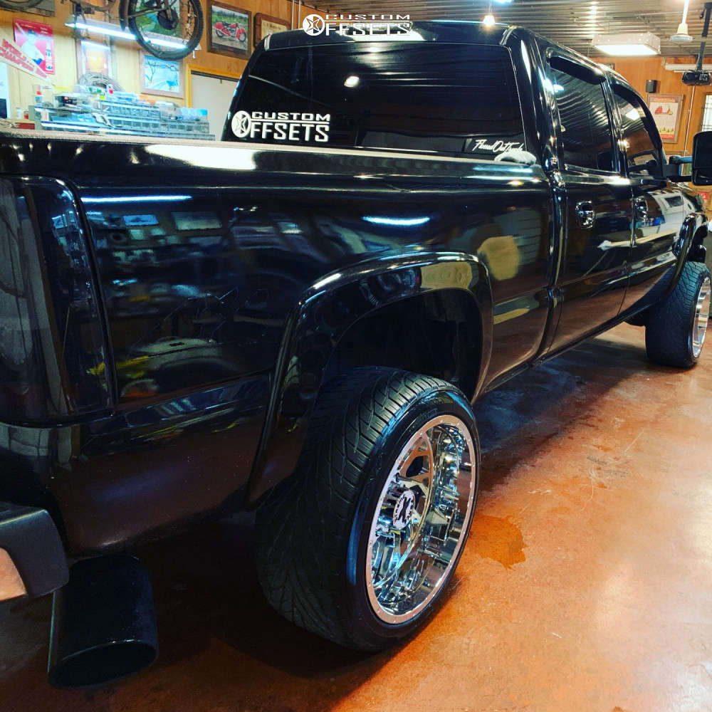 """2006 GMC Sierra 2500 HD Classic Aggressive > 1"""" outside fender on 22x12 -44 offset Xtreme Force Xf8 & 305/40 Toyo Tires Proxes S/t on Stock Suspension - Custom Offsets Gallery"""