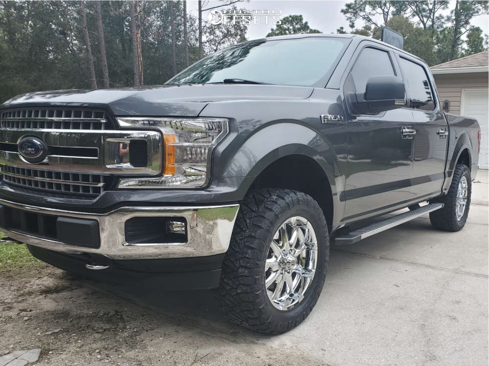 """2018 Ford F-150 Aggressive > 1"""" outside fender on 20x9 18 offset XD Badlands and 305/55 Nitto Ridge Grappler on Stock Suspension - Custom Offsets Gallery"""