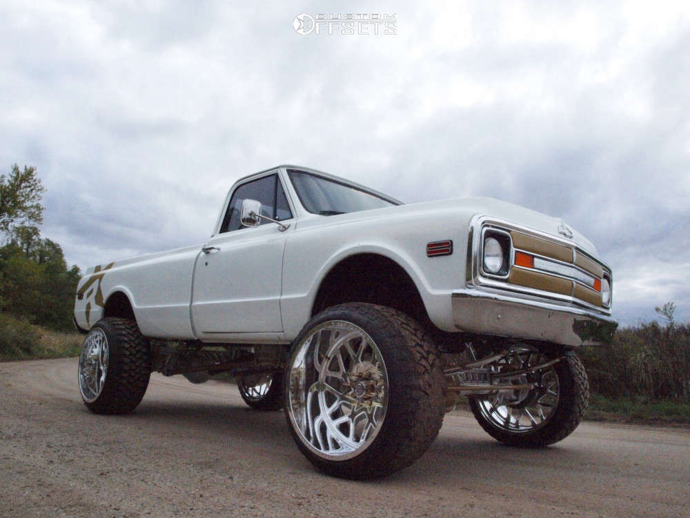 """1972 Chevrolet K20 Pickup Hella Stance >5"""" on 26x16 -101 offset RBP Forged Mojave and 37""""x13.5"""" Rbp Repulsor Mt on Suspension Lift 5"""" - Custom Offsets Gallery"""