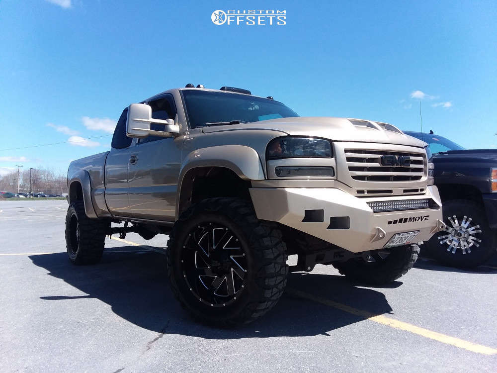 """2004 GMC Sierra 2500 HD Classic Super Aggressive 3""""-5"""" on 22x10 -18 offset Moto Metal Mo988 & 37""""x13.5"""" Nitto Mud Grappler on Suspension Lift 6"""" - Custom Offsets Gallery"""