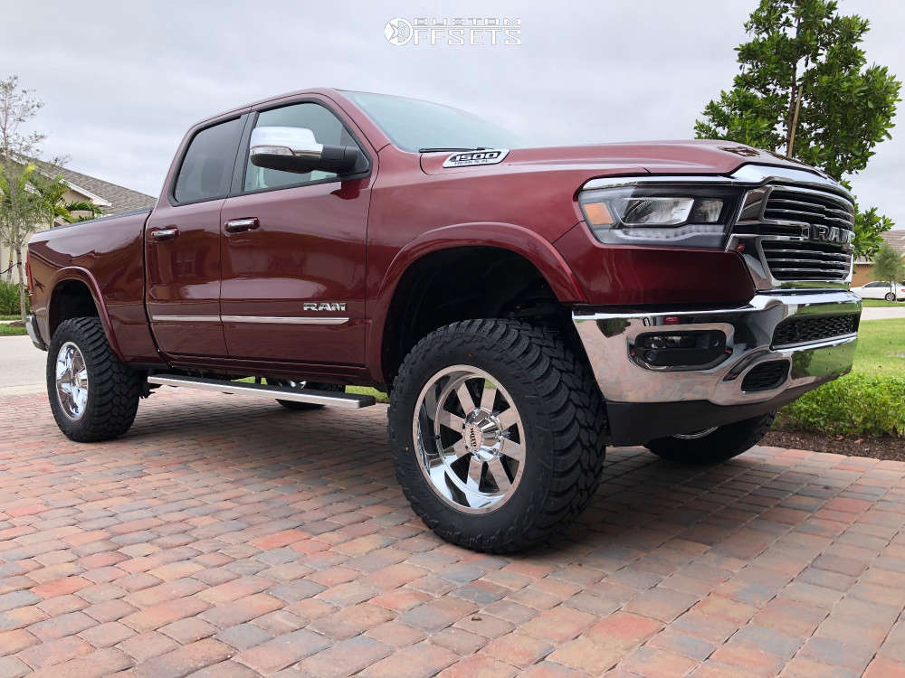 """2020 Ram 1500 Aggressive > 1"""" outside fender on 20x10 -24 offset Moto Metal Mo962 & 35""""x12.5"""" AMP Mud Terrain Attack Mt A on Suspension Lift 6"""" - Custom Offsets Gallery"""