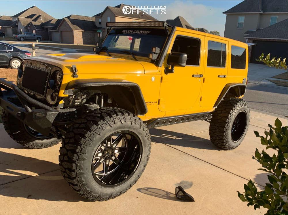"2015 Jeep Wrangler JK Super Aggressive 3""-5"" on 24x14 -76 offset Dropstars 655bm and 42""x15.5"" Atturo Trail Blade Boss on Suspension Lift 6"" - Custom Offsets Gallery"