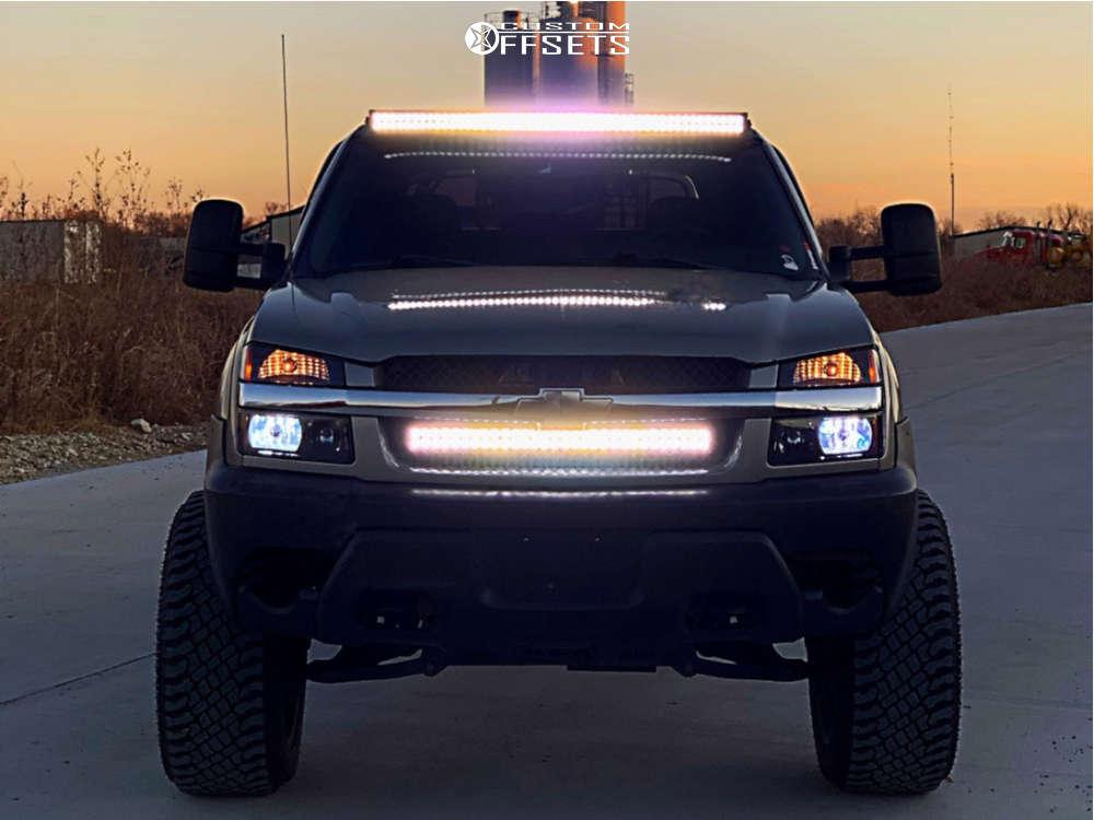 "2003 Chevrolet Avalanche 1500 Super Aggressive 3""-5"" on 22x12 -51 offset Vision Rocker & 325/50 Atturo Trail Blade Xt on Suspension Lift 6"" - Custom Offsets Gallery"