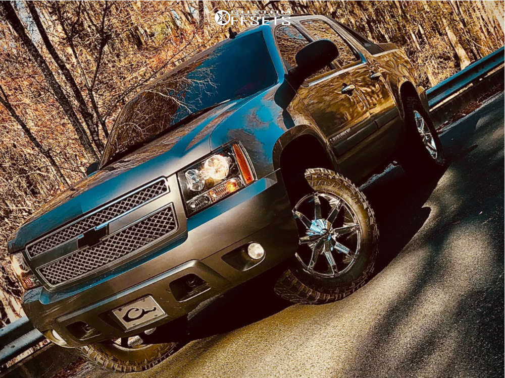 """2007 Chevrolet Avalanche Aggressive > 1"""" outside fender on 20x8.5 10 offset Kmc Slide & 35""""x12.5"""" Federal Couragia Mt on Suspension Lift 3.5"""" - Custom Offsets Gallery"""