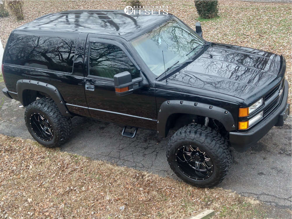 """1994 Chevrolet Blazer Aggressive > 1"""" outside fender on 20x12 -44 offset Gear Off-Road Big Block & 35""""x12.5"""" Federal Couragia Mt on Suspension Lift 6"""" - Custom Offsets Gallery"""