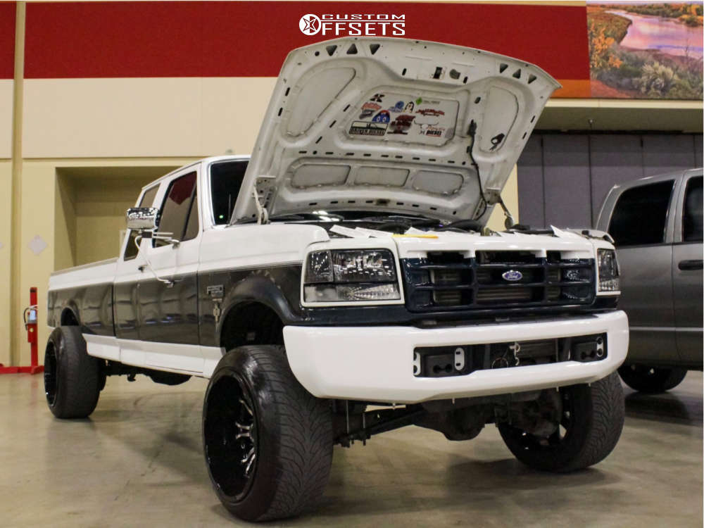 """1996 Ford F-250 Aggressive > 1"""" outside fender on 22x14 -76 offset American Truxx At154 & 305/40 Atturo Az800 on Level 2"""" Drop Rear - Custom Offsets Gallery"""
