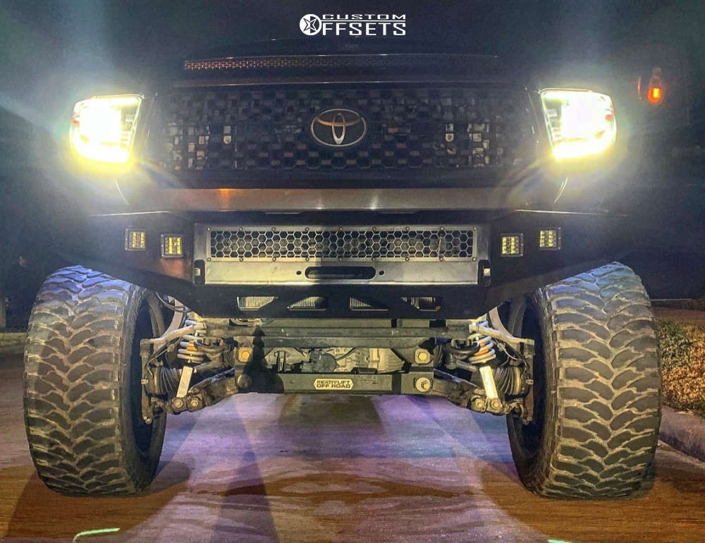 """2017 Toyota Tundra Hella Stance >5"""" on 24x14 -76 offset RBP Forged Atomic and 40""""x15.5"""" Rbp Repulsor Mt on Suspension Lift 8"""" - Custom Offsets Gallery"""