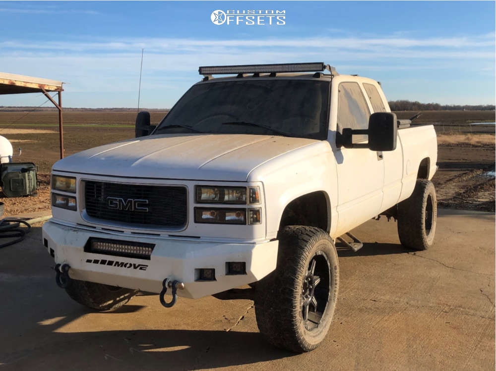 """1998 GMC K1500 Aggressive > 1"""" outside fender on 20x9 0 offset Pro Comp Series 51 & 35""""x12.5"""" Pro Comp At Sport on Suspension Lift 6"""" - Custom Offsets Gallery"""