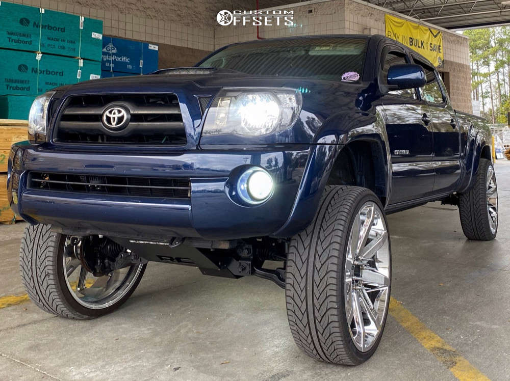 """2005 Toyota Tacoma Slightly Aggressive on 26x10 28 offset KMC Slide and 305/30 Lexani Lx-thirty on Suspension Lift 7.5"""" - Custom Offsets Gallery"""