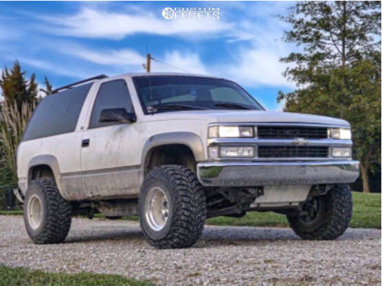 """1999 Chevrolet Tahoe Super Aggressive 3""""-5"""" on 15x12 -73 offset Mickey Thompson Classic Iii and 33""""x12.5"""" Mickey Thompson Baja Claw on Body Lift 3"""" - Custom Offsets Gallery"""