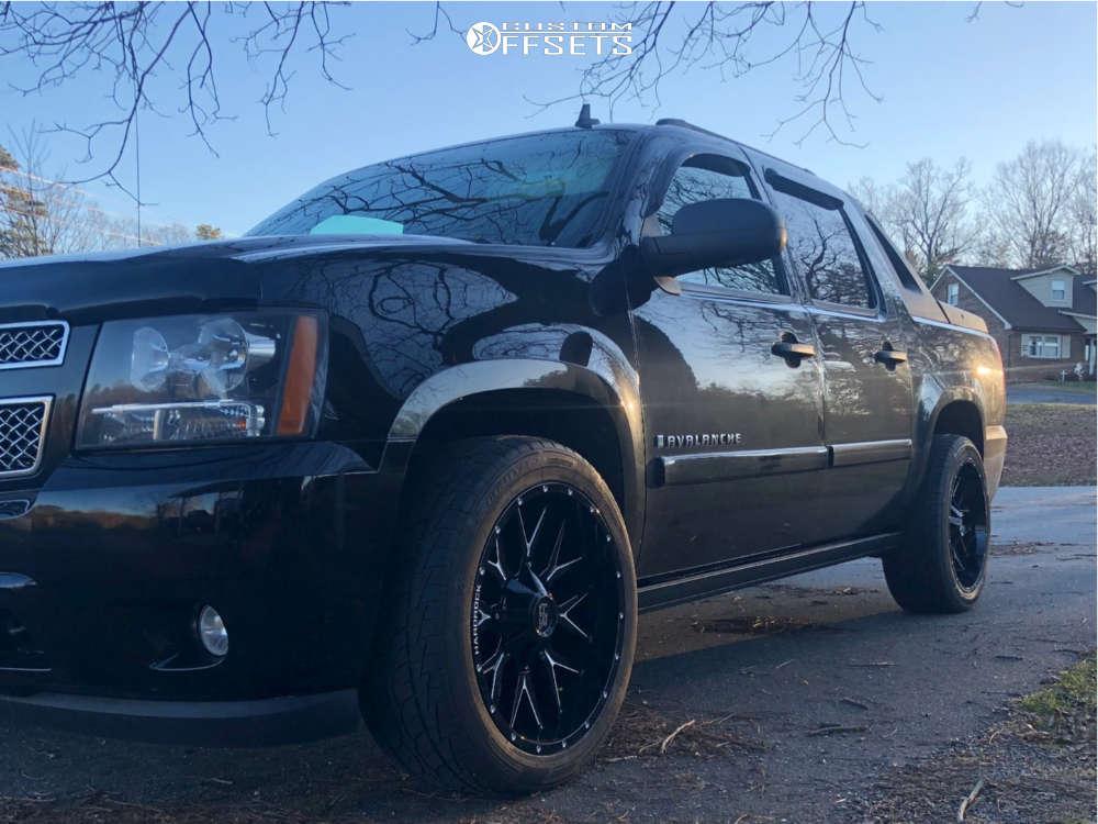 "2008 Chevrolet Avalanche 1500 Aggressive > 1"" outside fender on 22x10 -19 offset Hardrock Affliction & 285/40 Nankang Sp-7 on Stock Suspension - Custom Offsets Gallery"