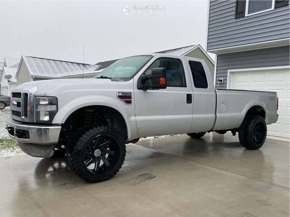 """2008 Ford E-250 Super Duty Aggressive > 1"""" outside fender on 22x12 -51 offset ARKON OFF-ROAD Lincoln and 33""""x12.5"""" Atturo Trail Blade Mt on Leveling Kit - Custom Offsets Gallery"""