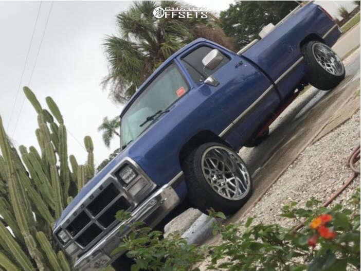 "1990 Dodge D250 Aggressive > 1"" outside fender on 22x12 -44 offset XD Grenade & 285/35 Nexen Roadian Hp on Stock Suspension - Custom Offsets Gallery"