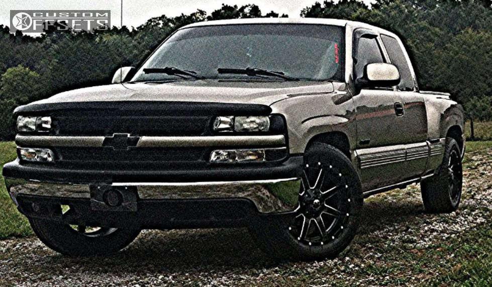 "2000 Chevrolet Silverado 1500 Slightly Aggressive on 20x9 14 offset Fuel Maverick & 27""x9.5"" Milestar MS on Stock - Custom Offsets Gallery"