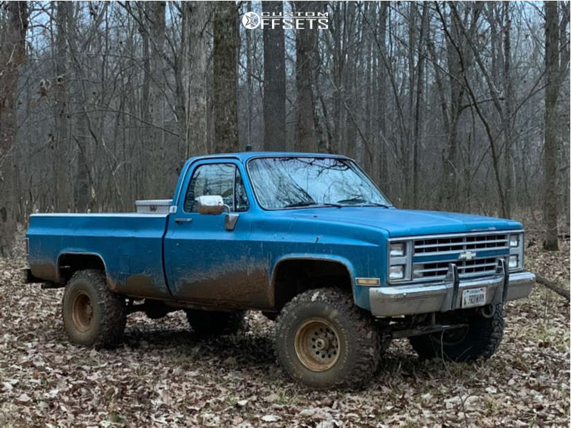 """1986 Chevrolet K10 Pickup Slightly Aggressive on 15x10 -38 offset American Racing Outlaw Ii & 35""""x12.5"""" BFGoodrich Mud Terrain T/a Km2 on Suspension Lift 4"""" - Custom Offsets Gallery"""