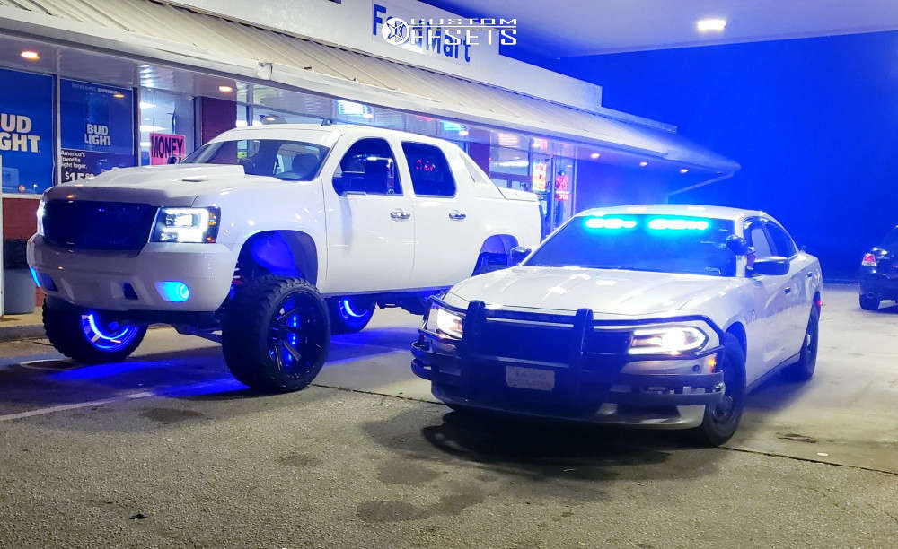 """2008 Chevrolet Avalanche Super Aggressive 3""""-5"""" on 24x14 -81 offset ARKON OFF-ROAD Lincoln & 35""""x13.5"""" AMP Mud Terrain Attack Mt A on Suspension Lift 6"""" - Custom Offsets Gallery"""