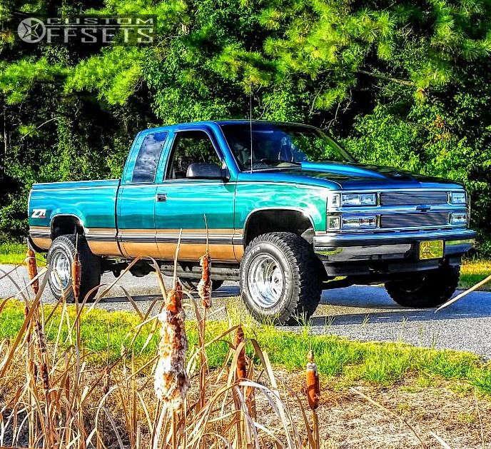 "1996 Chevrolet K1500 Super Aggressive 3""-5"" on 16x10 -43 offset American Racing Attitude & 33""x12.5"" BFGoodrich All Terrain TA KO2 on Body Lift 3"" - Custom Offsets Gallery"