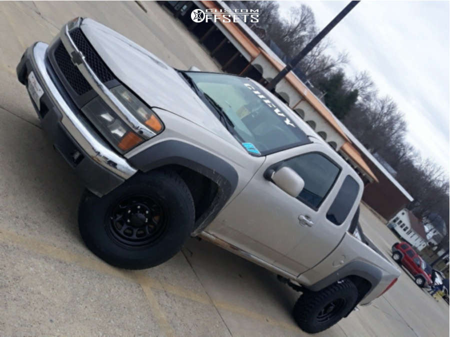 """2009 Chevrolet Colorado Aggressive > 1"""" outside fender on 16x8 -6 offset Black Rock D Widow & 245/75 Goodyear Wranger Authority on Stock Suspension - Custom Offsets Gallery"""