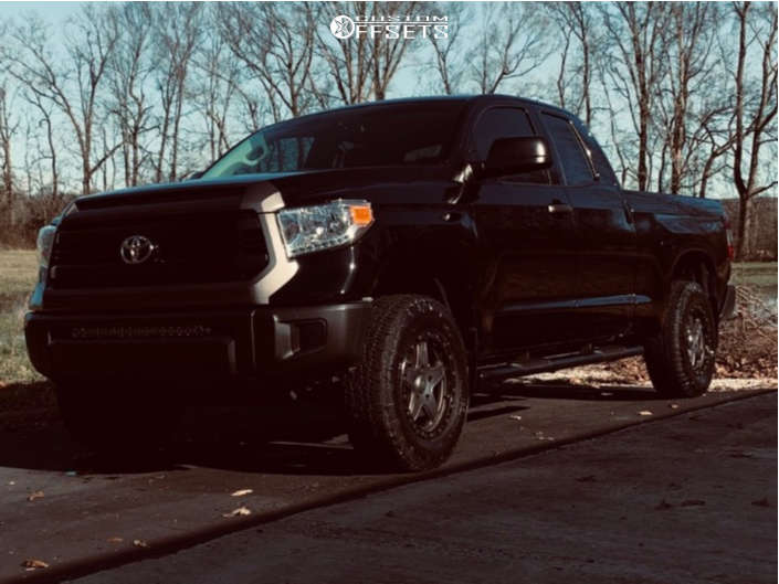 """2017 Toyota Tundra Slightly Aggressive on 18x8.5 35 offset American Racing Atx Ax194 and 265/70 Nitto Terra Grappler G2 on Suspension Lift 3"""" - Custom Offsets Gallery"""