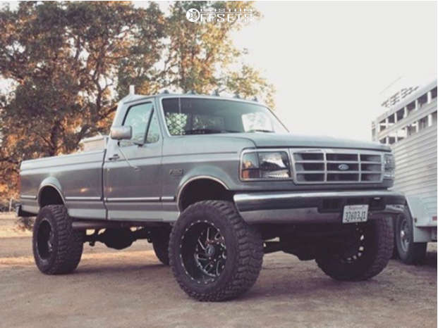 """1995 Ford F-250 Hella Stance >5"""" on 20x12 -44 offset Fuel Triton D581 and 35""""x13.5"""" Cooper Discoverer Stt Pro on Suspension Lift 6"""" - Custom Offsets Gallery"""