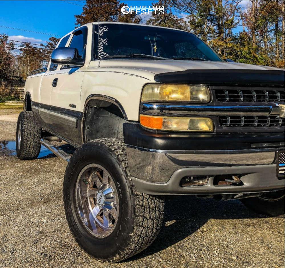 "2001 Chevrolet Silverado 1500 Super Aggressive 3""-5"" on 18x10 -24 offset Moto Metal Mo962 & 305/60 Nitto Terra Grappler G2 on Suspension Lift 6"" - Custom Offsets Gallery"