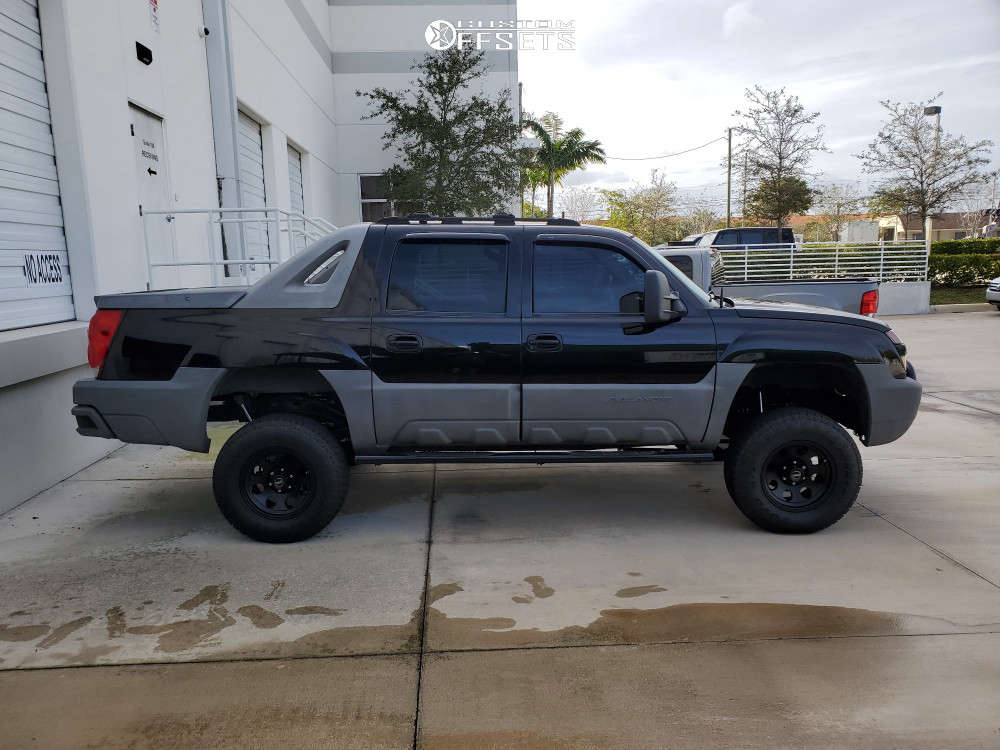 """2002 Chevrolet Avalanche 1500 Super Aggressive 3""""-5"""" on 17x9 -12 offset American Racing Baja & 285/70 Toyo Tires Open Country A/t Ii on Suspension Lift 6"""" - Custom Offsets Gallery"""