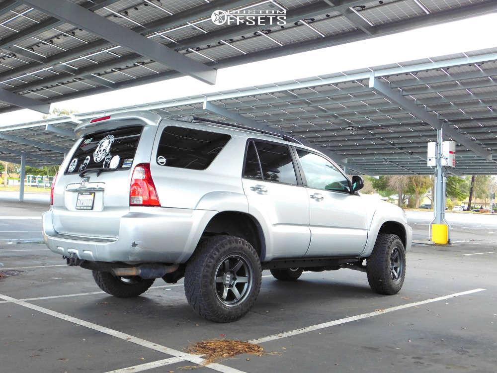 2006 Toyota 4Runner Slightly Aggressive on 17x9 -12 offset Level 8 Mk6 and 265/65 Goodyear Wrangler Duratrac on Leveling Kit & Body Lift - Custom Offsets Gallery