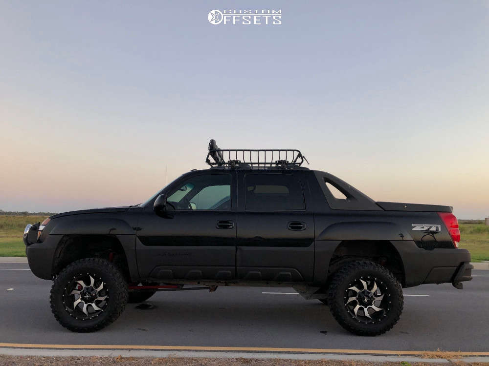 """2003 Chevrolet Avalanche 1500 Aggressive > 1"""" outside fender on 20x12 -44 offset Karma Offroad K27 & 35""""x12.5"""" Cooper Discoverer S/t Maxx on Suspension Lift 6"""" - Custom Offsets Gallery"""