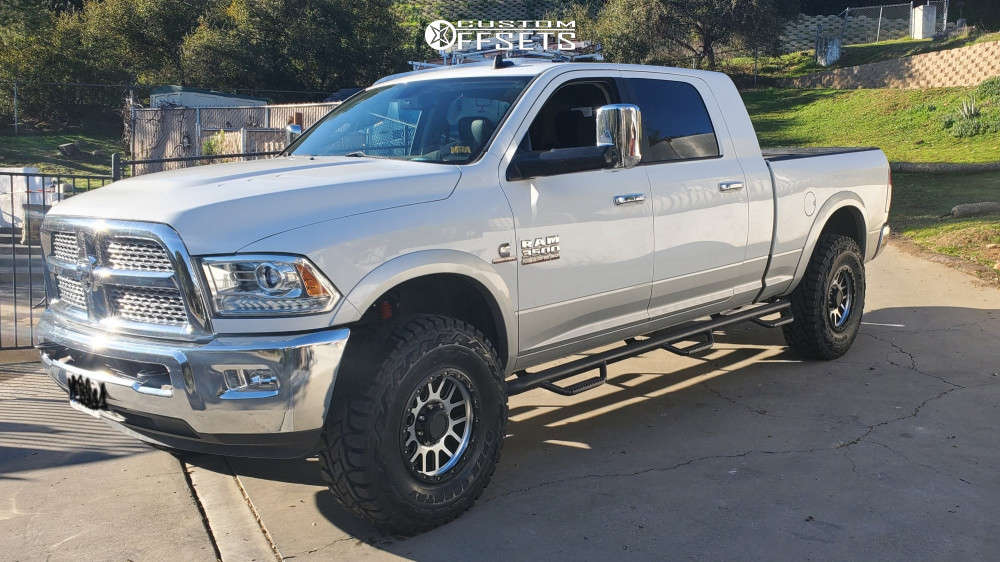 """2014 Ram 3500 Aggressive > 1"""" outside fender on 18x9 18 offset Vision Nemesis & 37""""x12.5"""" Toyo Tires Open Country R/T on Suspension Lift 3.5"""" - Custom Offsets Gallery"""