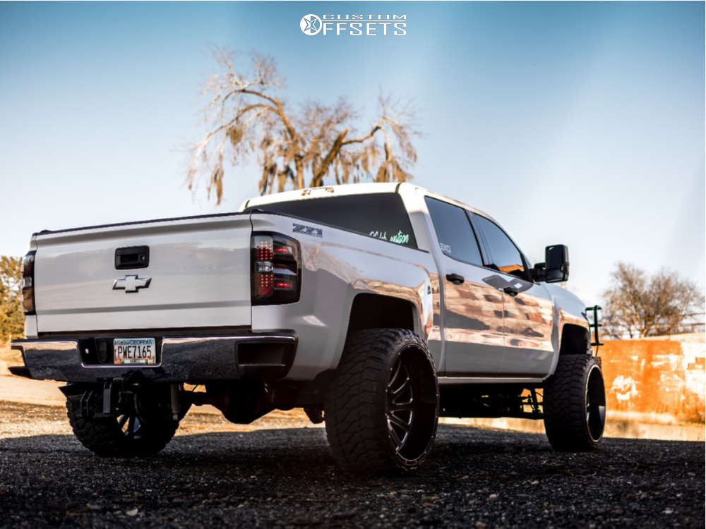 """2014 Chevrolet Silverado 1500 Hella Stance >5"""" on 26x14 -76 offset Hardcore Offroad Hc15 and 35""""x13.5"""" Fury Offroad Country Hunter Mt on Suspension Lift 7"""" - Custom Offsets Gallery"""