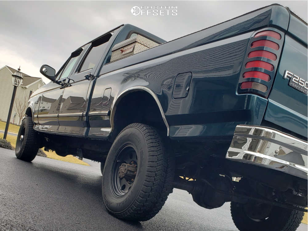 1997 Ford F-250 Nearly Flush on 16x8 0 offset American Racing Baja and 265/75 General Grabber Arctic Lt on Stock Suspension - Custom Offsets Gallery