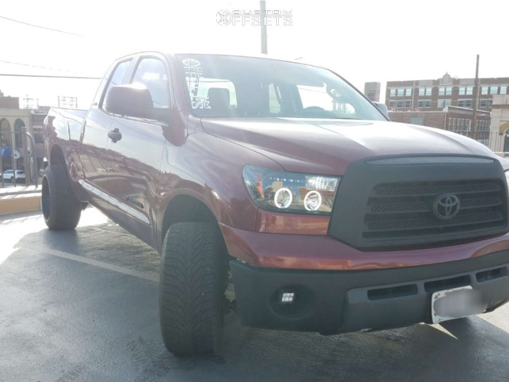 """2008 Toyota Tundra Aggressive > 1"""" outside fender on 20x12 -44 offset Xf Offroad Xf-203 and 295/40 Atturo Az800 on Stock Suspension - Custom Offsets Gallery"""