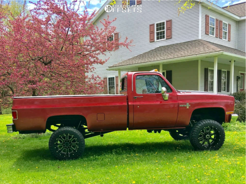 """1982 Chevrolet K20 Aggressive > 1"""" outside fender on 20x12 -44 offset Gear Off-Road Big Block & 33""""x12.5"""" Atturo Trail Blade Mt on Suspension Lift 4"""" - Custom Offsets Gallery"""