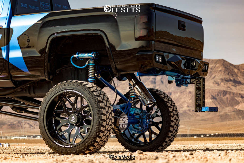 """2015 GMC Sierra 2500 HD Hella Stance >5"""" on 28x14 -76 offset RBP Forged Atomic and 40""""x15.5"""" Fury Offroad Country Hunter Mt on Lifted >12"""" - Custom Offsets Gallery"""