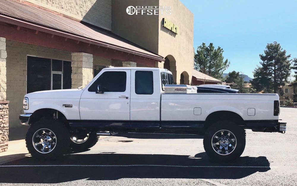 """1996 Ford F-250 Aggressive > 1"""" outside fender on 20x12 -44 offset Fuel Octane & 37""""x12.5"""" Dick Cepek Mud Country on Suspension Lift 7.5"""" - Custom Offsets Gallery"""