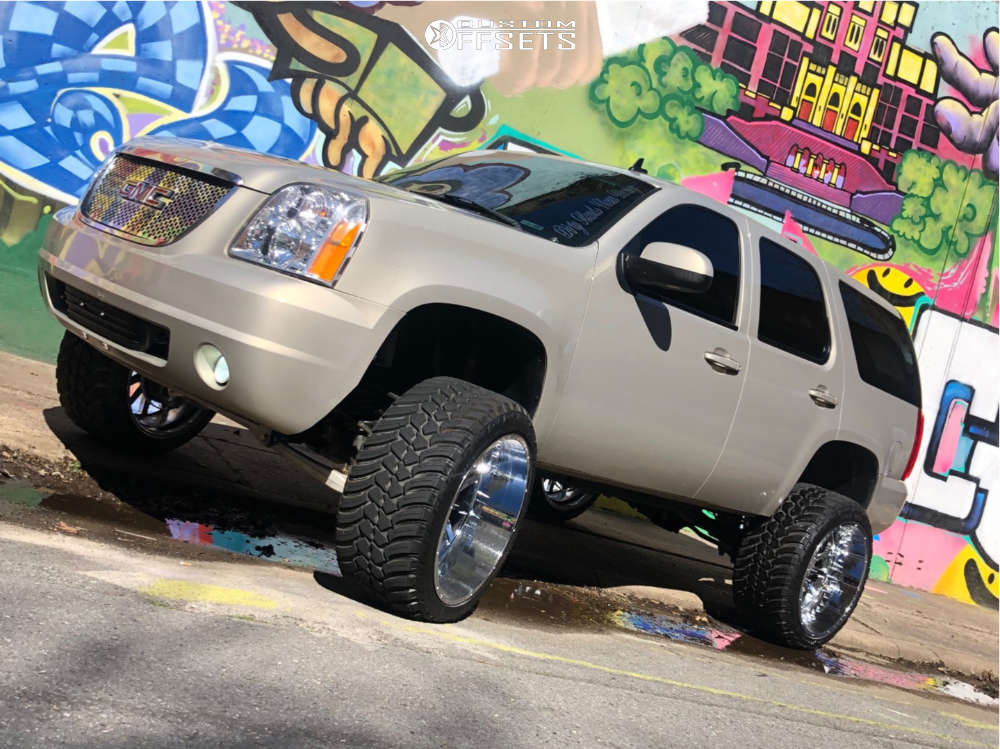 """2007 GMC Yukon Aggressive > 1"""" outside fender on 24x14 -76 offset Hardcore Offroad Hc13 & 35""""x13.5"""" AMP Mud Terrain Attack Mt A on Suspension Lift 7.5"""" - Custom Offsets Gallery"""