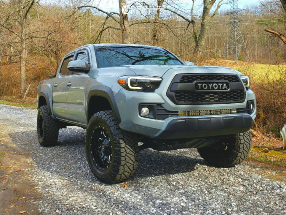 """2019 Toyota Tacoma Aggressive > 1"""" outside fender on 18x9 -12 offset Fuel Lethal and 285/65 Nitto Ridge Grappler on Suspension Lift 3.5"""" - Custom Offsets Gallery"""