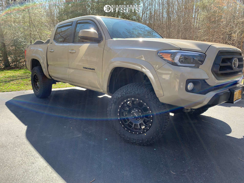 """2020 Toyota Tacoma Aggressive > 1"""" outside fender on 17x8.5 0 offset Pro Comp Series 34 and 265/70 Falken Wildpeak At3w on Leveling Kit - Custom Offsets Gallery"""