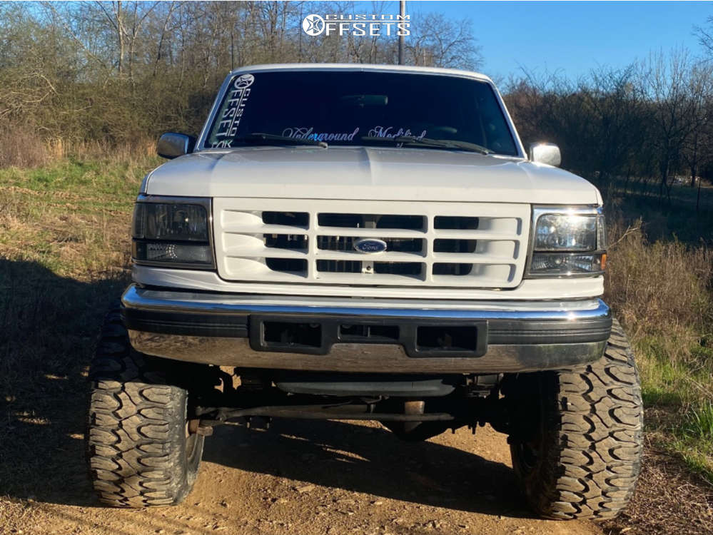 """1997 Ford F-350 Super Aggressive 3""""-5"""" on 20x14 -76 offset Fuel Hosatge & 38""""x15.5"""" Milestar Patagonia Mt on Suspension Lift 6"""" - Custom Offsets Gallery"""