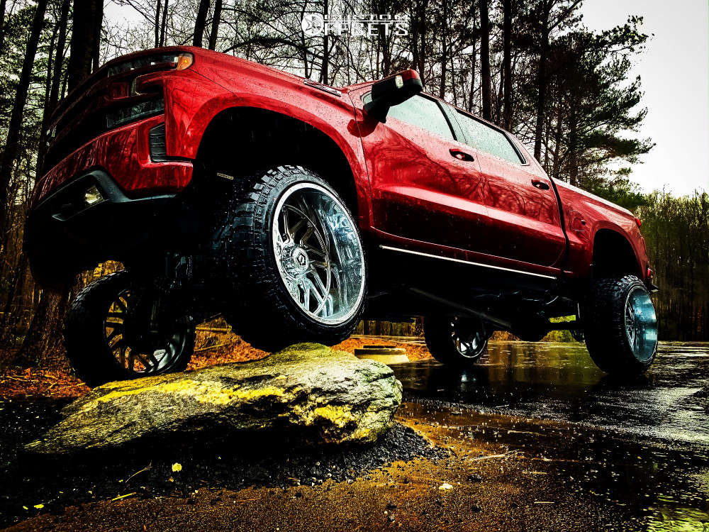 """2019 Chevrolet Silverado 1500 Hella Stance >5"""" on 26x14 -76 offset TIS 544c & 37""""x13.5"""" Fury Offroad Country Hunter Mt on Suspension Lift 9"""" - Custom Offsets Gallery"""