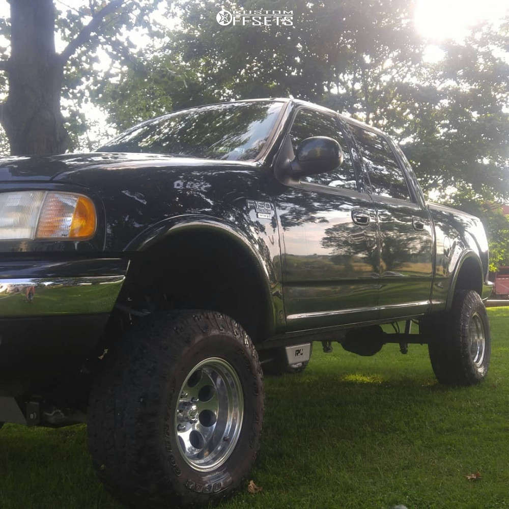 """2001 Ford F-150 Slightly Aggressive on 16x10 -38 offset Alloy Ion 171 & 305/70 Toyo Tires Open Country A/t Ii on Suspension Lift 4"""" - Custom Offsets Gallery"""