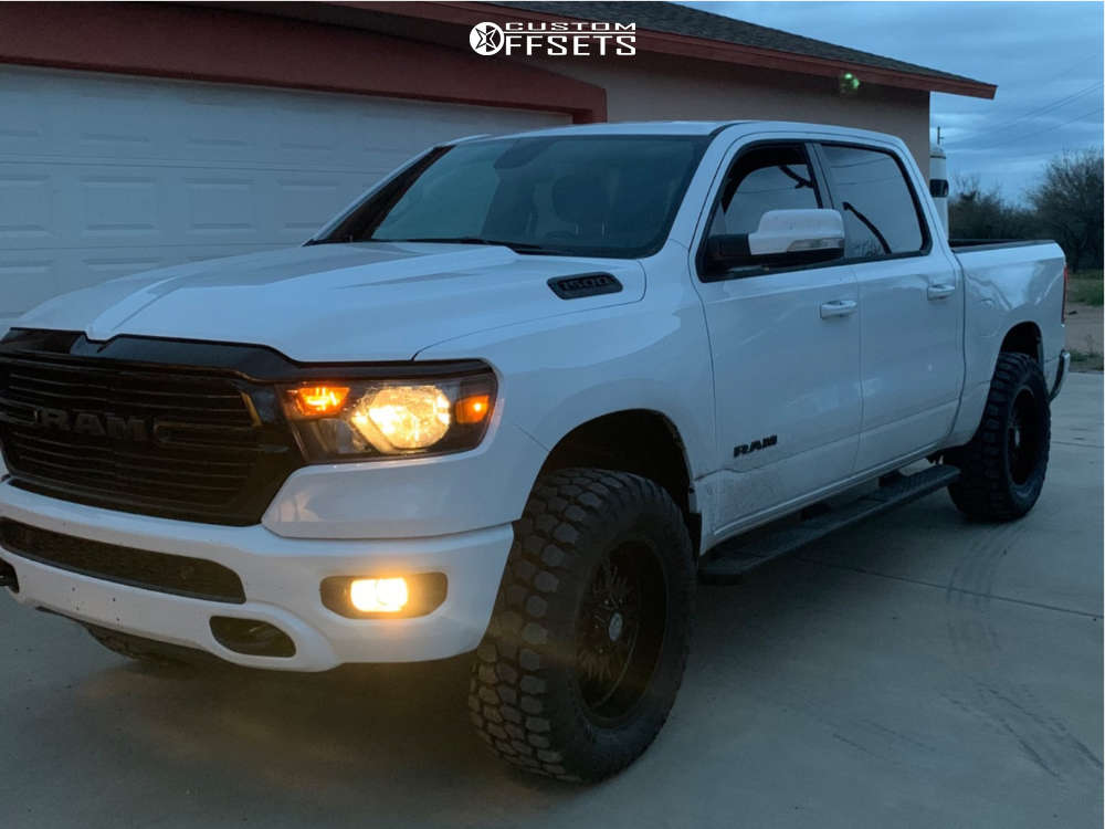 """2020 Ram 1500 Aggressive > 1"""" outside fender on 20x9 -12 offset Panther Offroad 580 and 35""""x12.5"""" Ironman All Country Mt on Suspension Lift 3.5"""" - Custom Offsets Gallery"""