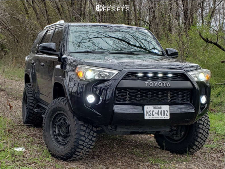 """2016 Toyota 4Runner Aggressive > 1"""" outside fender on 17x9.5 -18 offset Black Rhino Armory and 33""""x12.5"""" BFGoodrich Mud-terrain T/a Km3 on Suspension Lift 4"""" - Custom Offsets Gallery"""