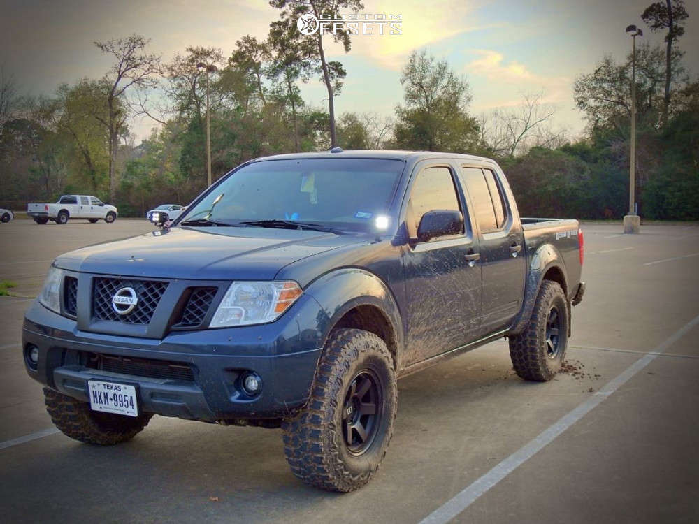 """2016 Nissan Frontier Slightly Aggressive on 16x8 0 offset Level 8 Mk6 & 33""""x12.5"""" Thunderer Trac Grip M/t on Suspension Lift 3"""" - Custom Offsets Gallery"""