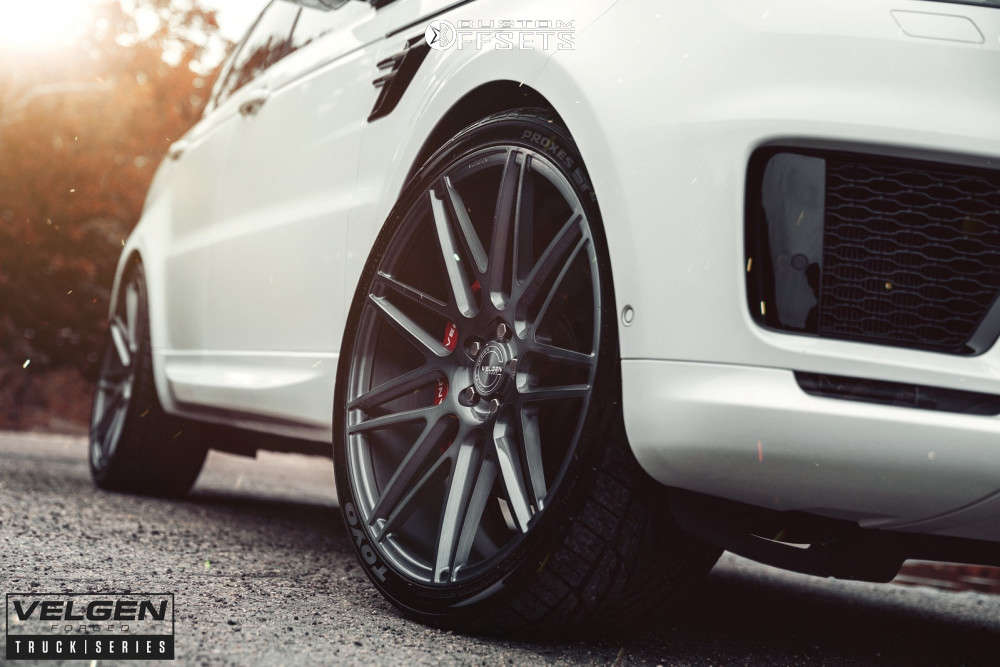 2019 Land Rover Range Rover Sport Flush on 24x10 33 offset Velgen Vft9 and 295/30 Toyo Tires Proxes St Iii on Stock Suspension - Custom Offsets Gallery
