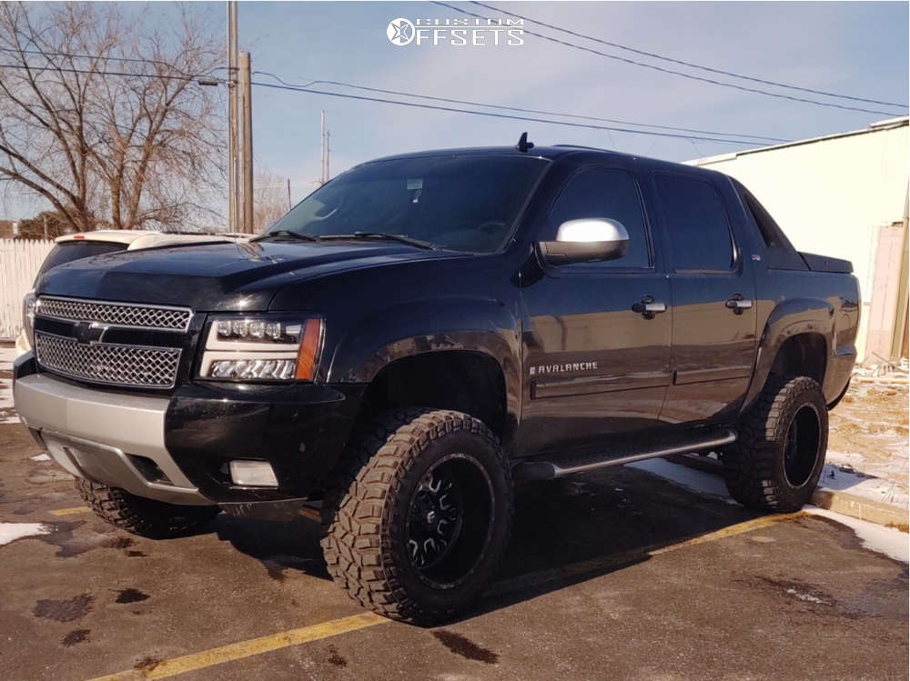 """2008 Chevrolet Avalanche Slightly Aggressive on 20x12 -43 offset Fuel D611 & 35""""x13.5"""" Cooper Discoverer Stt Pro on Leveling Kit & Body Lift - Custom Offsets Gallery"""