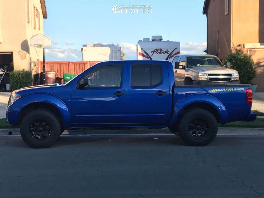"""2014 Nissan Frontier Aggressive > 1"""" outside fender on 16x8 0 offset Ultra Crusher and 235/85 Falken Wildpeak At on Leveling Kit - Custom Offsets Gallery"""