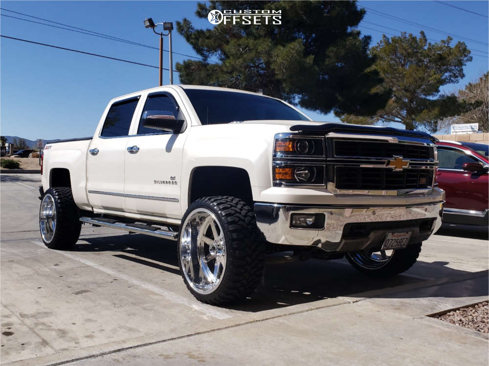 """2014 Chevrolet Silverado 1500 Aggressive > 1"""" outside fender on 24x12 -51 offset Fuel Forged Ff09 & 33""""x12.5"""" Rbp Repulsor Mt Rx on Suspension Lift 5"""" - Custom Offsets Gallery"""