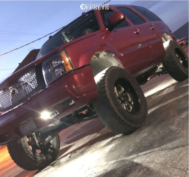 """2004 Cadillac Escalade Super Aggressive 3""""-5"""" on 20x10 -18 offset Fuel Flow and 37""""x12.5"""" Toyo Tires Open Country R/T on Suspension Lift 6"""" - Custom Offsets Gallery"""